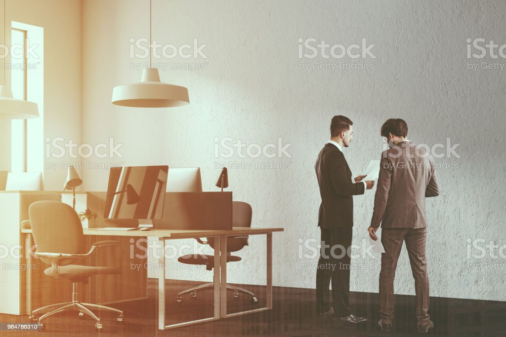 Loft open space workplace mock up wall toned royalty-free stock photo