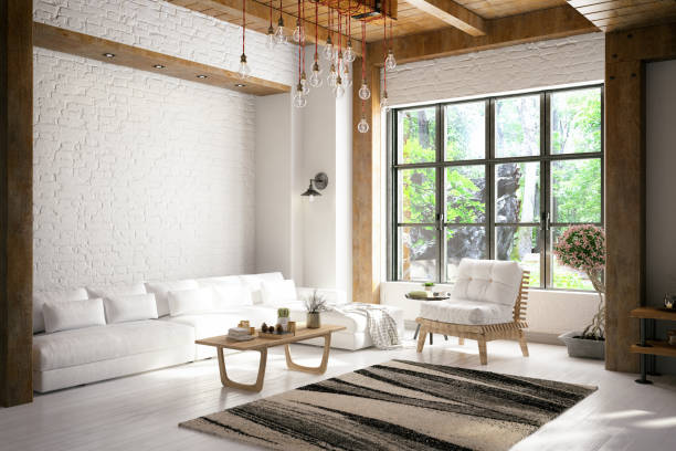 Loft Room Loft room with cozy design chalet stock pictures, royalty-free photos & images