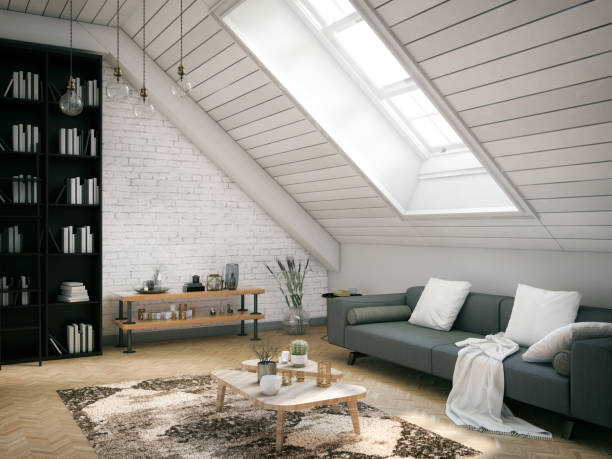 Loft Room Loft room with cozy design attic stock pictures, royalty-free photos & images