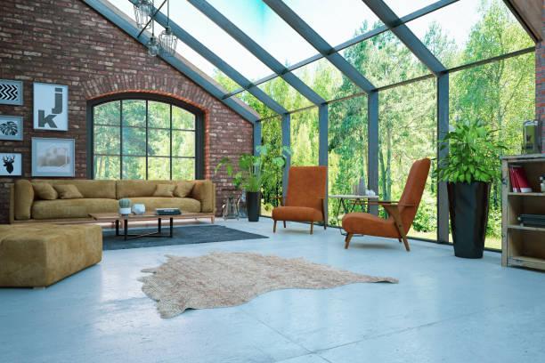 loft kamer met bakstenen muren en uitzicht op de tuin - loft stockfoto's en -beelden