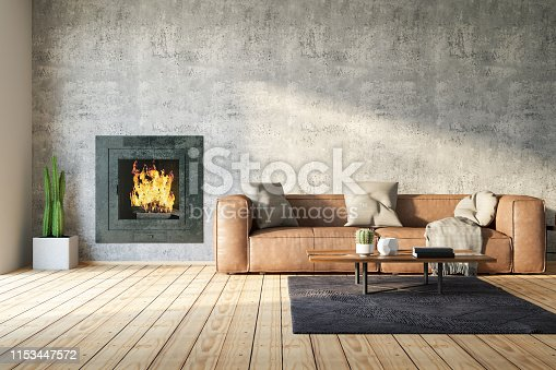 Interior with armchair, coffee table and fireplace.