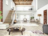 Loft room with cozy design