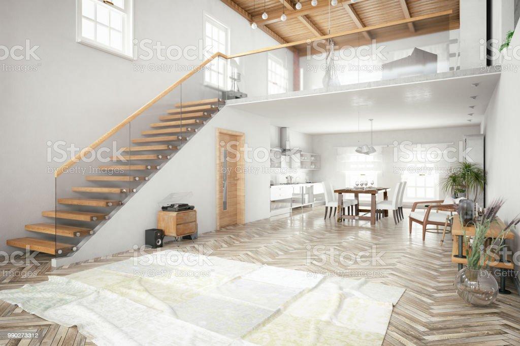 Loftzimmer Mit Mezzanine Stockfoto und mehr Bilder von ...