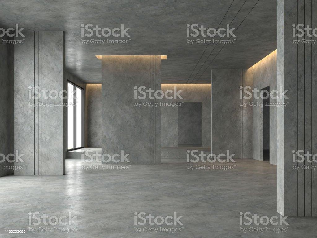 Espace loft salle vide rendu 3D - Photo de Abstrait libre de droits