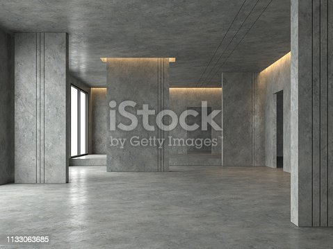 Loft space empty room 3d render,There are polished concrete floor and wall decorate with hidden warm light in ceiling