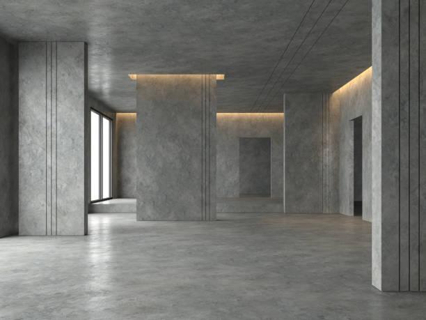 espace loft salle vide rendu 3d - architecture intérieure beton photos et images de collection
