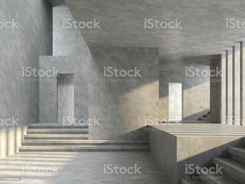 Espace loft salle vide avec mur de tuiles en béton rendu 3D - Photo de Abstrait libre de droits