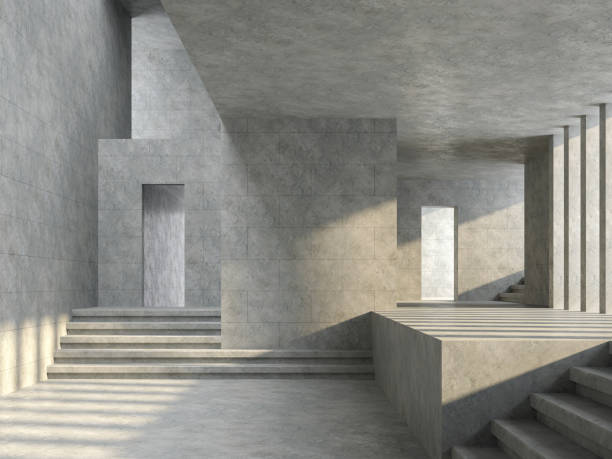 espace loft salle vide avec mur de tuiles en béton rendu 3d - architecture intérieure beton photos et images de collection