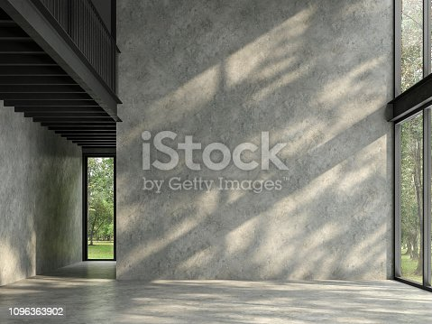 istock Loft space empty room with nature view 3d render 1096363902