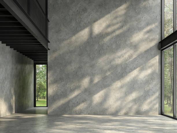 loft espace chambre vide avec la nature vue 3d render - architecture intérieure beton photos et images de collection