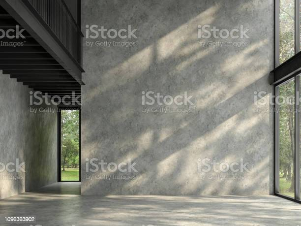 Photo of Loft space empty room with nature view 3d render