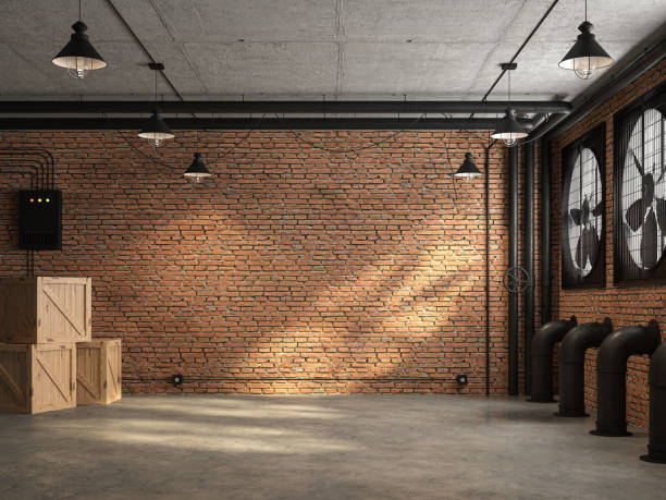Loft space empty room with orange brick wall 3d render Loft space empty room 3d render,There are orange brick wall. With concrete floor and ceiling The wall has a large black ventilation fan. At the ceiling, there are plumbing pipes and wires warehouse interior stock pictures, royalty-free photos & images