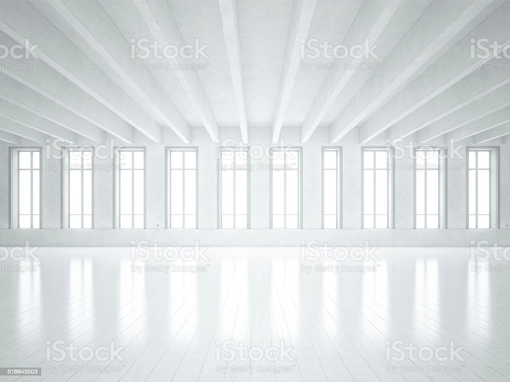 Loft space with white walls stock photo
