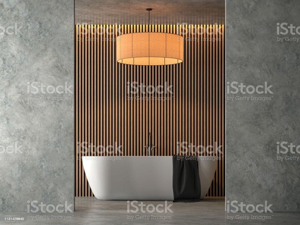Salle de bain style loft avec cocrete poli rendu 3D - Photo de Ameublement libre de droits