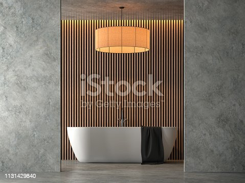 istock Loft style bathroom with polished cocrete 3d render 1131429840