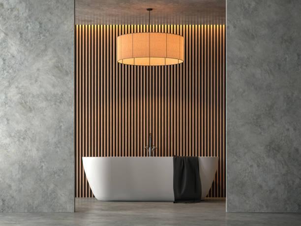 salle de bain style loft avec cocrete poli rendu 3d - architecture intérieure beton photos et images de collection