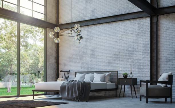loft stil schlafzimmer 3d render bild - wanddekoration metall stock-fotos und bilder