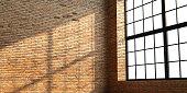 3d illustration. Loft brick room or studio with large windows. Modern interior.