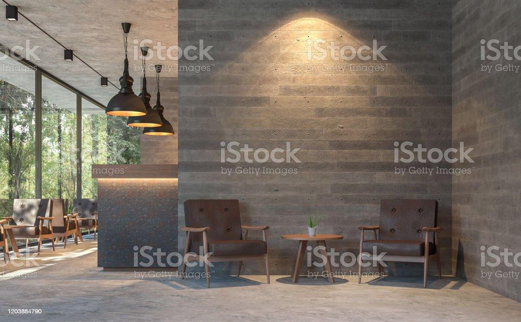 Café de style Loft avec vue sur la nature 3d rendre - Photo de Affaires libre de droits