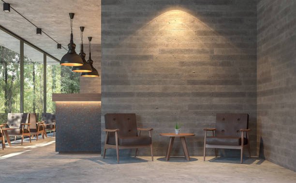Loft style coffee shop with nature view 3d render stock photo