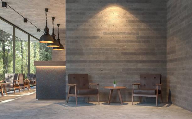 café de style loft avec vue sur la nature 3d rendre - architecture intérieure beton photos et images de collection