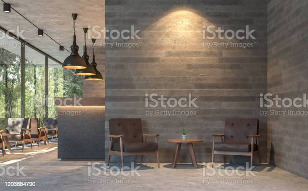 Loft Style Coffee Shop With Nature View 3d Render Stock Photo - Download Image Now