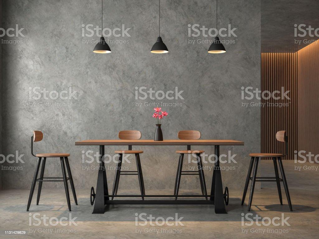 Salle à manger de style loft avec rendu 3D en cocrete poli - Photo de Ameublement libre de droits