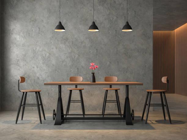 salle à manger de style loft avec rendu 3d en cocrete poli - architecture intérieure beton photos et images de collection