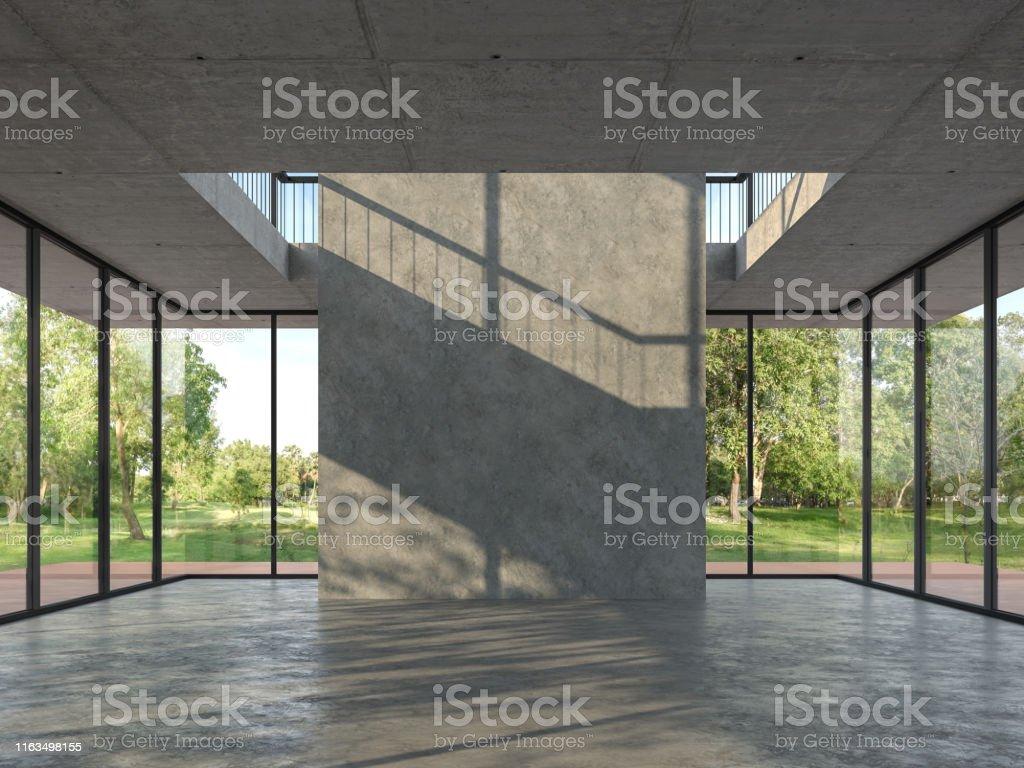 Chambre vide de modèle de grenier avec le fond en béton 3d rendent - Photo de A la mode libre de droits
