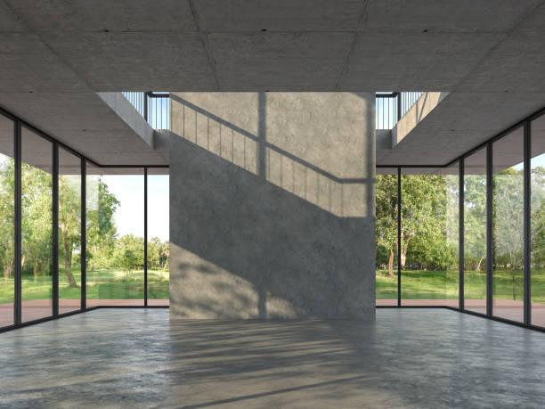 chambre vide de modèle de grenier avec le fond en béton 3d rendent - architecture intérieure beton photos et images de collection