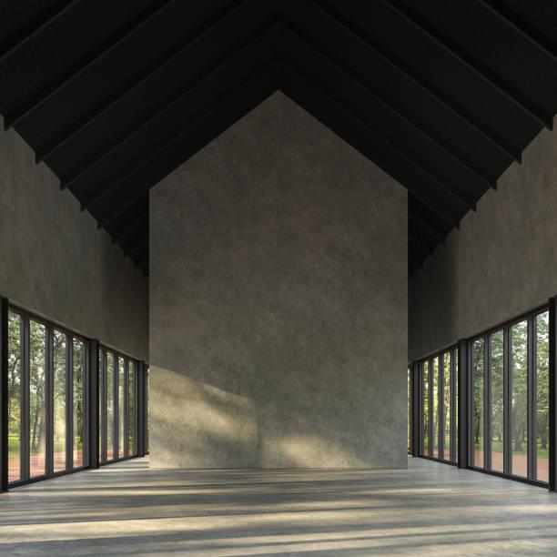 Loft-Stil leeres Zimmer mit Naturansicht 3d Gerendern – Foto