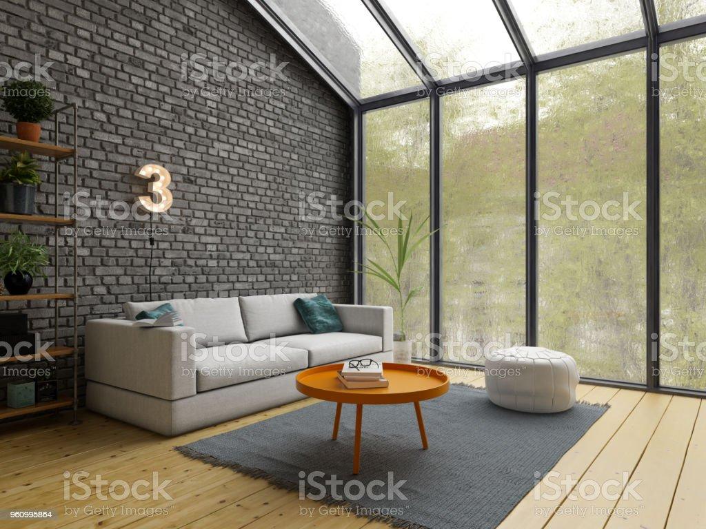 Loft Stil Innenarchitektur 21drendering Stockfoto und mehr Bilder ...