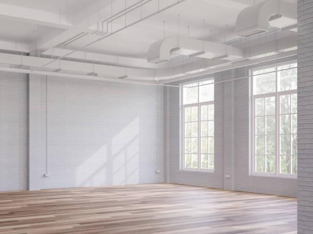 Loft style interior space 3d render stock photo