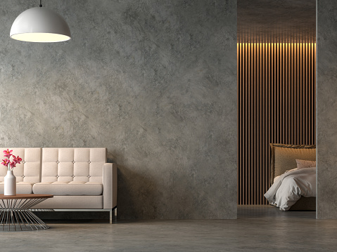 istock Loft style liveng room and bedroom with polished cocrete 3d render 1131429824