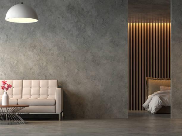 loft style chambre salon et chambre à coucher avec cocrete poli rendu 3d - architecture intérieure beton photos et images de collection