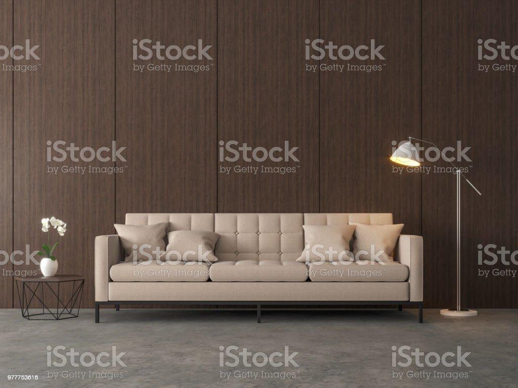 Loft style living room 3d render. stock photo