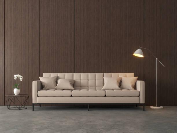 loft-stil wohnzimmer 3d render. - betonboden wohnzimmer stock-fotos und bilder