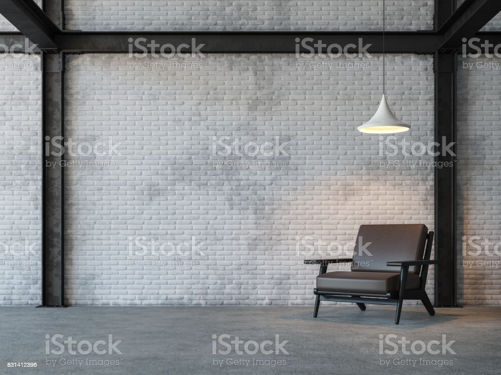 Loft style living room 3d rendering image stock photo