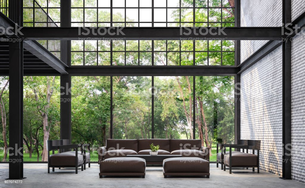 Loft style living room with nature view 3d rendering image stock photo