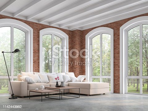 istock Loft style living room with red brick wall 3d render 1142443952