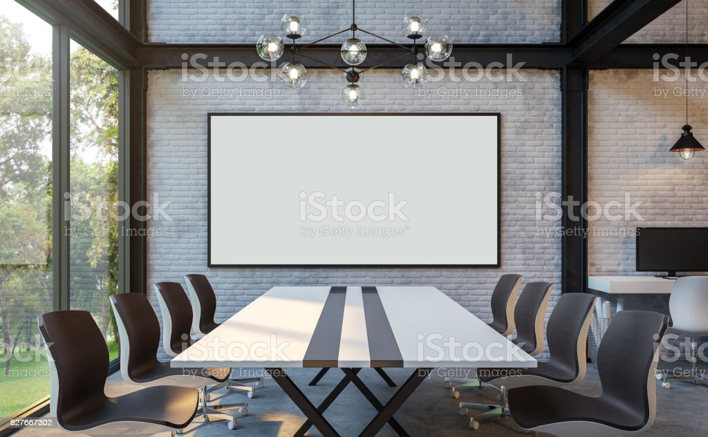 Loft style meeting room 3d rendering image stock photo