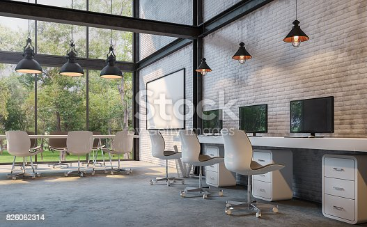 istock Loft style office 3d rendering image 826062314