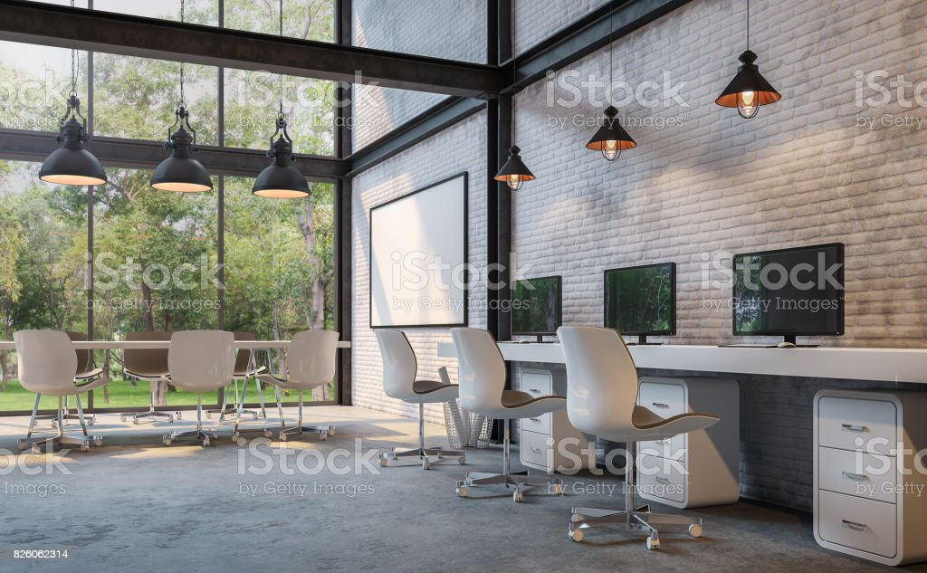 Loft style office 3d rendering image stock photo