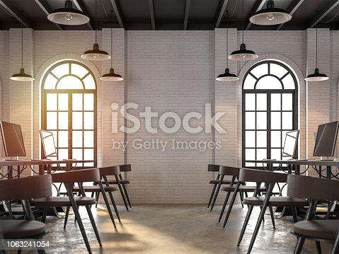 istock Loft style office interior 3d render 1063241054
