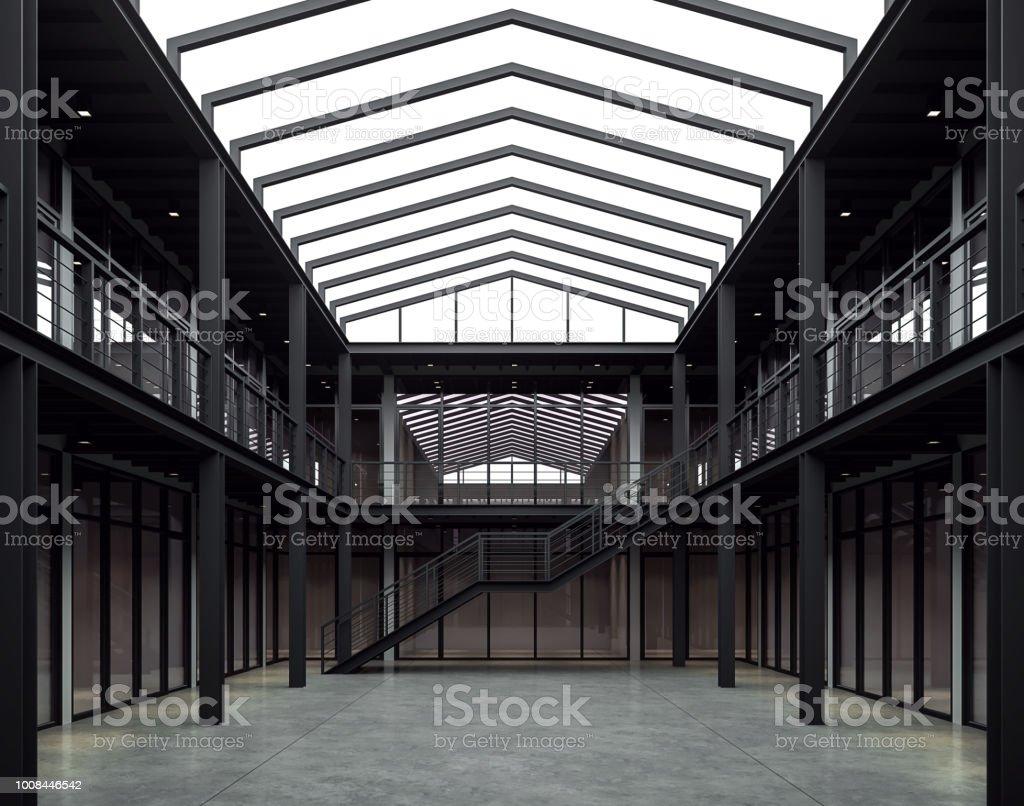 Loft style bureau espace 3d render - Photo de Acier libre de droits