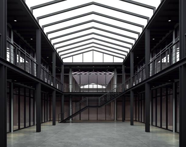 loft style bureau espace 3d render - architecture intérieure beton photos et images de collection
