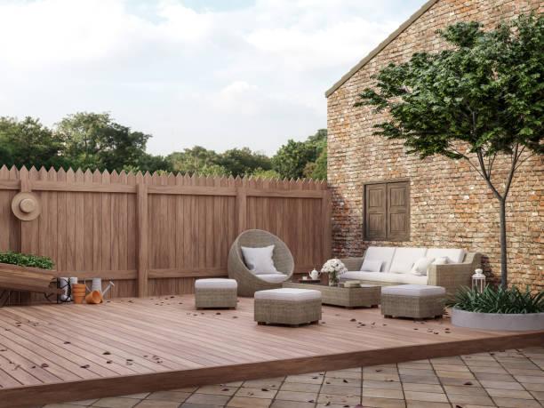 Loft style outdoor living area 3d render stock photo