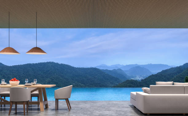 Loft style pool villa living and dining room with mountain view 3d rendering image stock photo