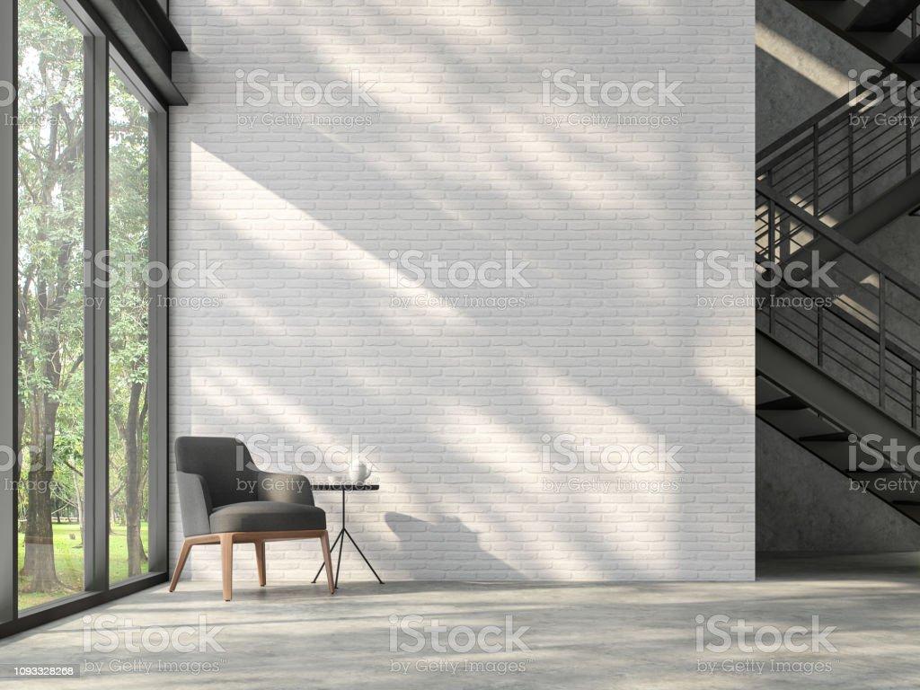 Hall d'escalier de style loft avec nature vue 3d render - Photo de Acier libre de droits