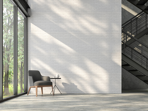 istock Loft style stair hall with nature view 3d render 1093328268